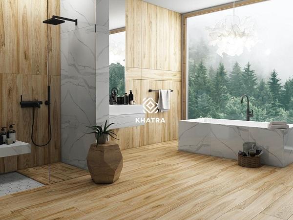 [Review] 8 kiểu sử dụng gạch gỗ cho phòng tắm của bạn